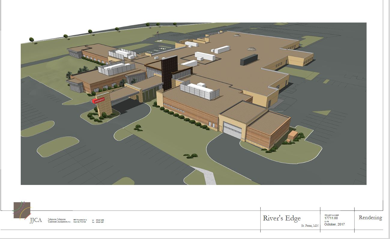 Artist rendering of an aerial view of the completed expansion of REHC.  View is from Sunrise Drive looking southwest