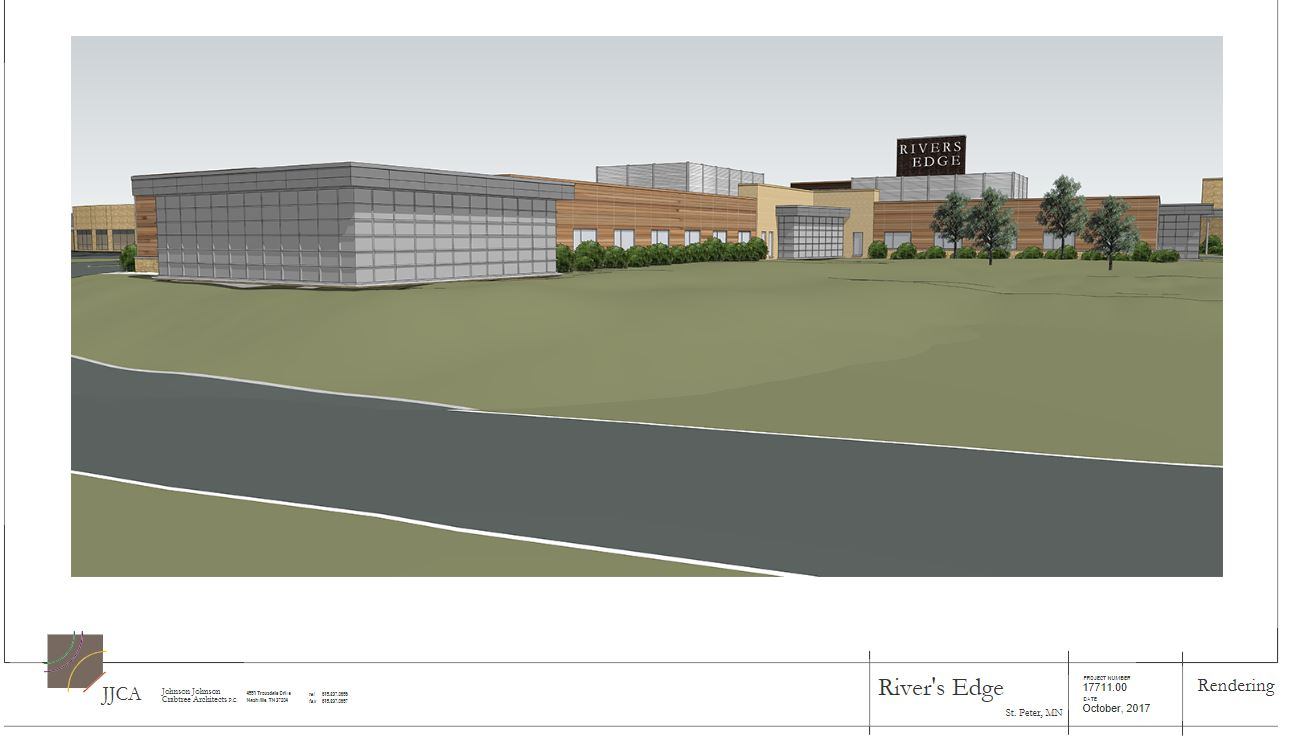 Artist rendering of new patient wing.  View is from Dodd Road, looking north